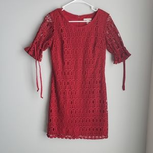 Women's red woven dress with sewn in slip size 8P